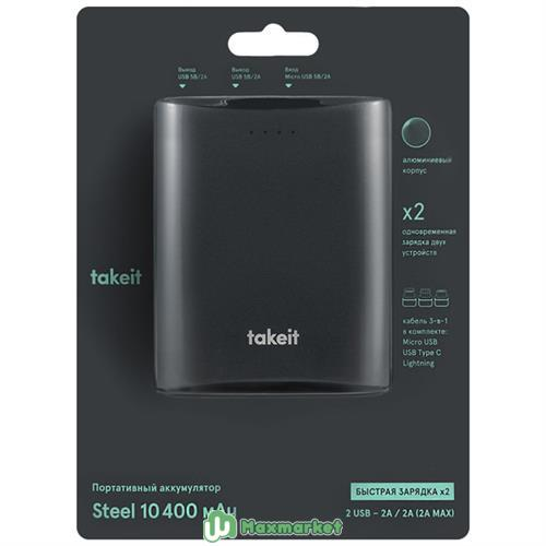 Внешний аккумулятор Takeit Steel 10400 mAh Grey (TKTPBSTEEL10400GREY)